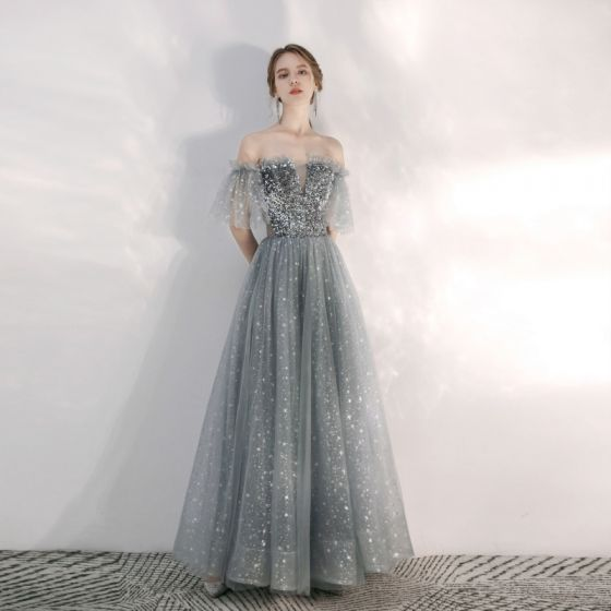 Charming Grey Star Sequins Prom Dresses 2020 A-Line / Princess Ruffle Off-The-Shoulder Short Sleeve Backless Floor-Length / Long Formal Dresses