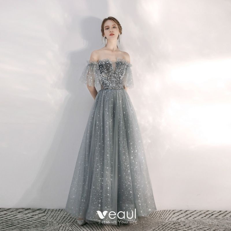 Charming Grey Star Sequins Prom Dresses