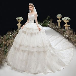 Luxury / Gorgeous Ivory Beading Cascading Ruffles Wedding Dresses 2020 Ball Gown Scoop Neck Appliques Rhinestone Sequins 3/4 Sleeve Backless Royal Train