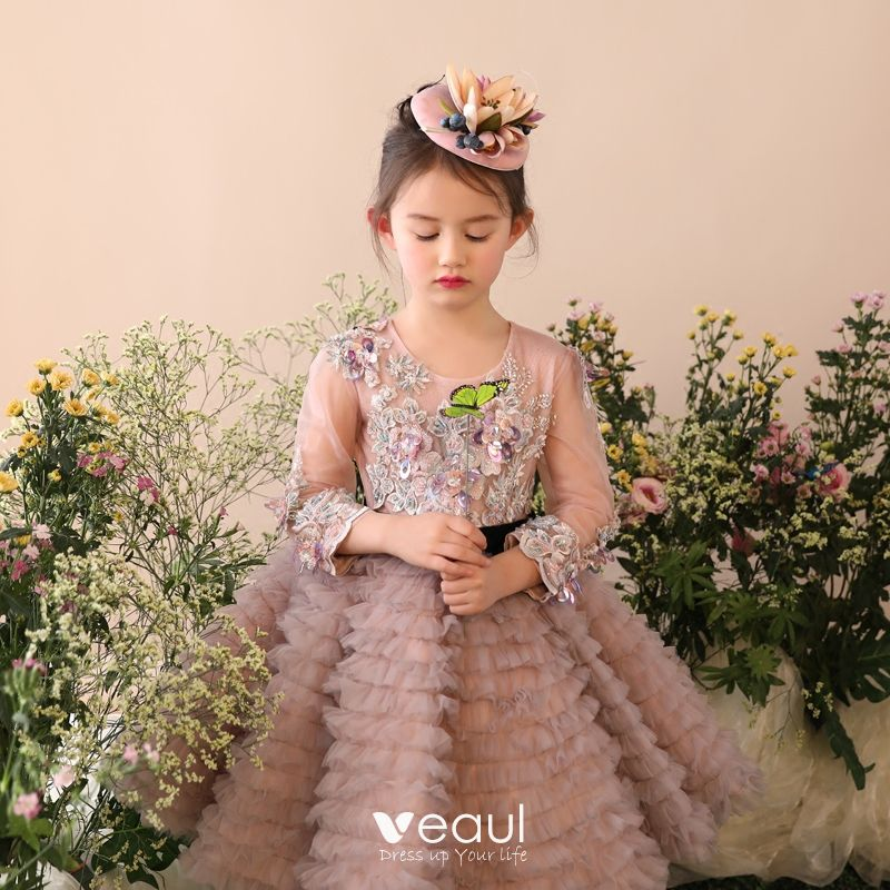 Chic / Beautiful Church Wedding Party Dresses 2017 Flower Girl Dresses Green Ball Gown Knee-Length Pleated Scoop Neck Long Sleeve Flower Appliques Beading Sequins