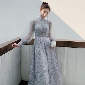 Victorian Style Grey See-through Homecoming Graduation Dresses 2020 A-Line / Princess High Neck Puffy Long Sleeve Appliques Spotted Beading Ankle Length Ruffle Backless Formal Dresses