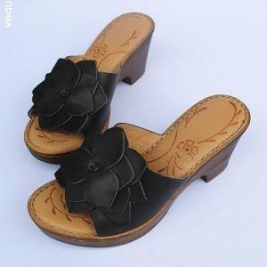 Enkel Sorte Casual Sandaler Dame 2020 Læder Blomsten 7 cm Tykke Hæle Peep Toe Sandaler