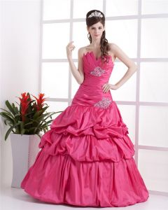 Ball Gown Satin Ruffle Beading Floor Length Quinceanera Prom Dress
