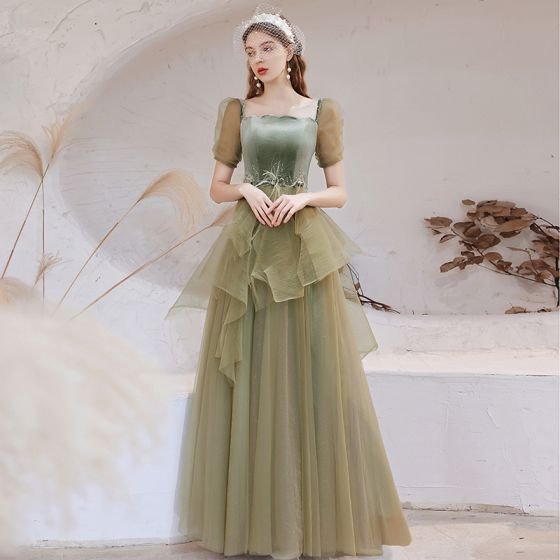 Vintage / Retro Sage Green Dancing Prom Dresses 2021 A-Line / Princess Square Neckline Puffy Short Sleeve Feather Beading Glitter Tulle Floor-Length / Long Ruffle Backless Formal Dresses