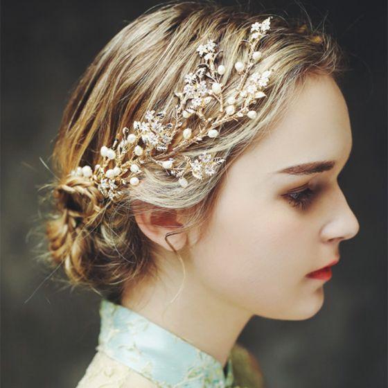 Elegante Goud Bruids Haaraccessoires 2017 Metaal Parel Haaraccessoires