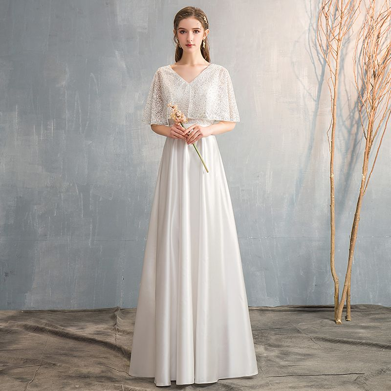 Chic / Beautiful Sky Blue Satin Bridesmaid Dresses 2019 A-Line / Princess V-Neck 1/2 Sleeves Sash Beading Floor-Length / Long Ruffle Wedding Party Dresses