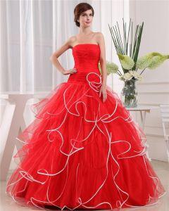 Ball Gown Strapless Zipper Sleeveless Flower Layered Floor Length Organza Charmeuse Woman Quinceanera Prom Dress