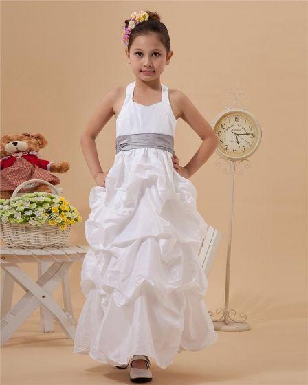 Cute A-Line Halter Ankle-Length Taffeta Flower Girl Dress