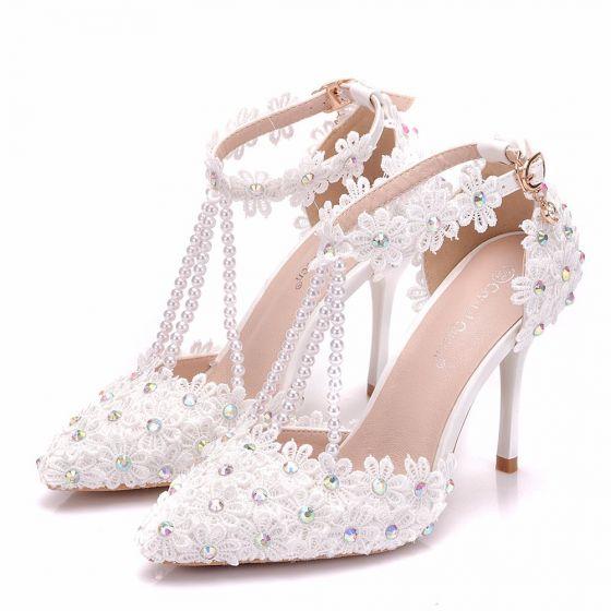Modern / Fashion White Wedding Shoes 2018 Lace Flower Rhinestone Pearl T-Strap Ankle Strap 9 cm Stiletto Heels Pointed Toe Wedding High Heels