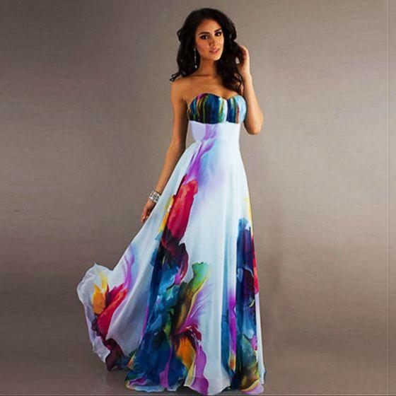 a600f36818 Kolorowy Multi-Kolory Szyfon Lato Długie sukienki 2018 Imperium Kochanie  Bez Rękawów Długie Wzburzyć Bez Pleców ...