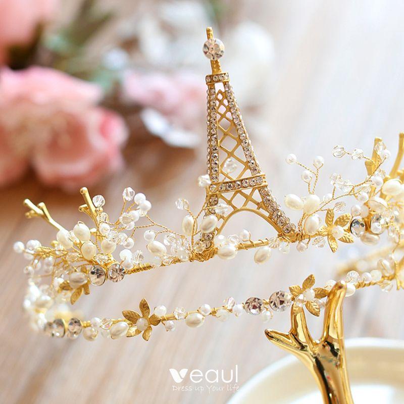 Luxury / Gorgeous 2017 Gold Rhinestone Metal Tiara Bridal Jewelry