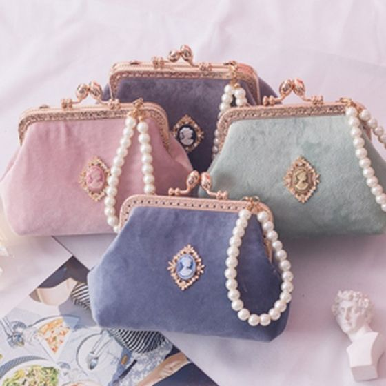 Chinese style Square Clutch Bags 2020 Metal Pearl