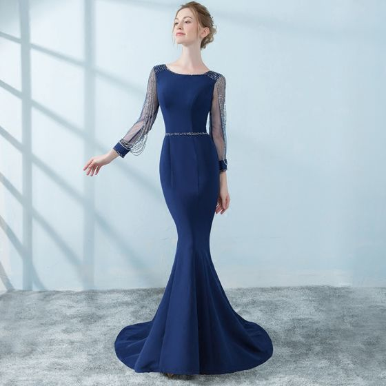 chic-beautiful-navy-blue-evening-dresses-2018-trumpet-mermaid-beading -tassel-3-4-sleeve-scoop-neck-sweep-train-formal-dresses-560x560.jpg 0ced5403a