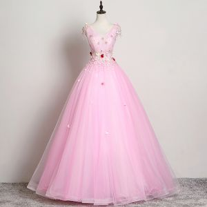 Elegant Candy Pink Prom Dresses 2019 A-Line / Princess V-Neck Flower Beading Lace Appliques Sleeveless Backless Floor-Length / Long Formal Dresses