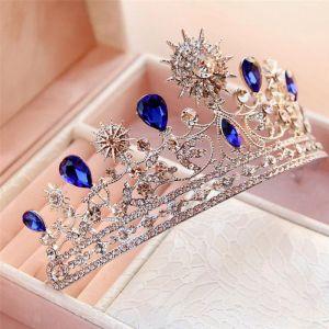 Unieke Koninklijk Blauw Bruidssieraden 2017 Metaal Rhinestone Kralen Kristal Haaraccessoires Huwelijk Gala Accessoires