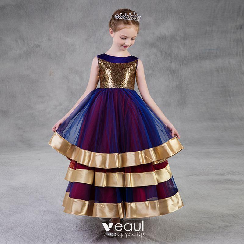 Colores Oro Azul Real Borgoña Vestidos Para Niñas 2018 A Line Princess Scoop Escote Sin Mangas Lentejuelas La Altura Del Tobillo Ruffle Vestidos
