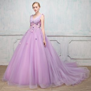 Elegant Lavender Prom Dresses 2018 Ball Gown Appliques Pearl V-Neck Backless Sleeveless Court Train Formal Dresses