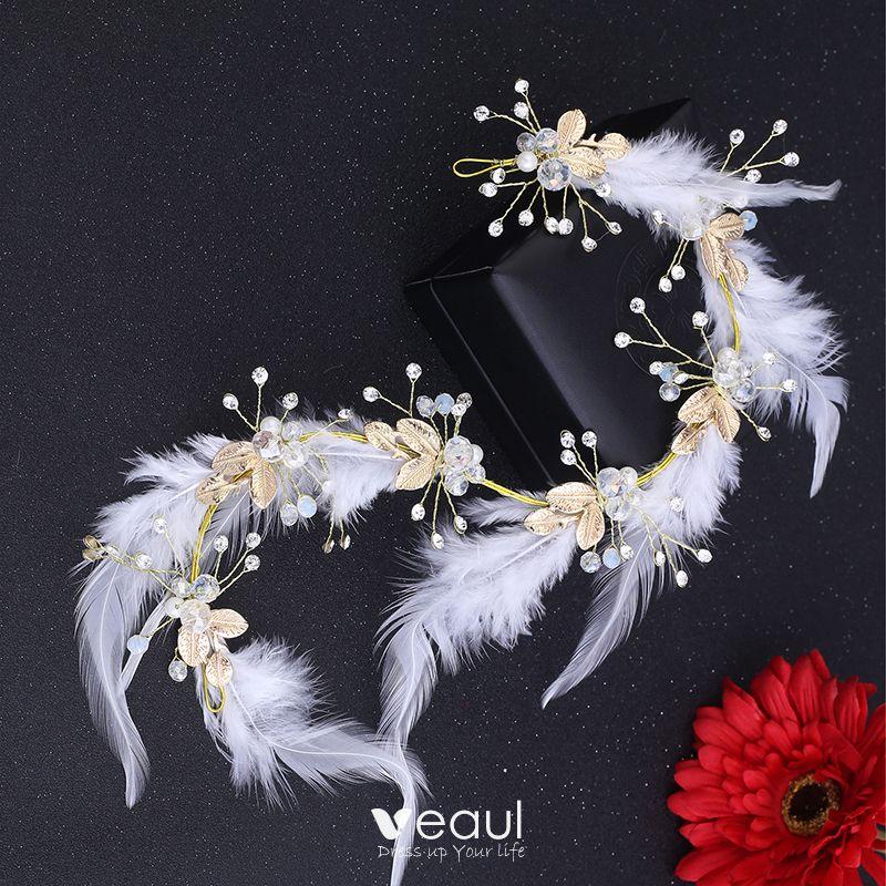 Bridal Hair Accessories Bridal Jewelry Chic / Beautiful 2017 White Gold Feather Rhinestone Metal Tiara