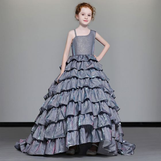 Luxury / Gorgeous Navy Blue Flower Girl Dresses 2019 A-Line / Princess Shoulders Beading Sleeveless Glitter Polyester Sweep Train Cascading Ruffles Backless Wedding Party Dresses