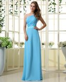 Empire One Shouder Floor Length Chiffon Satin Bridesmaid Dress