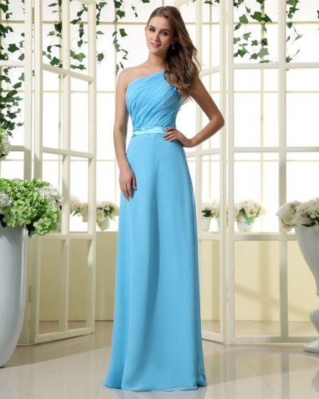 Empire One Shouder Floor Length Chiffon Satin Bridesmaid Dress