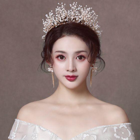 Elegant Gold Bridal Jewelry 2020 Alloy Wedding Beading Tiara Tassel Earrings Bridal Hair Accessories