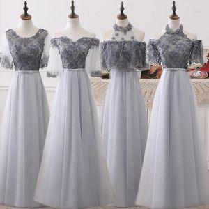 Chic / Belle Gris Robe Demoiselle D'honneur 2018 Princesse Appliques Fleur Noeud Ceinture Longue Volants Dos Nu Robe Pour Mariage