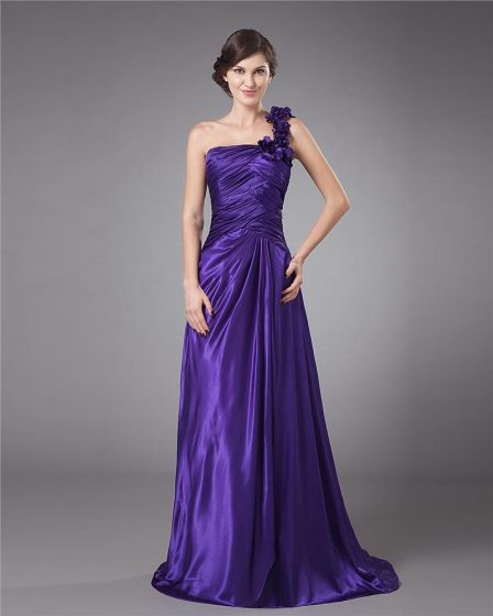 Chiffon Ruffle Pleated One Shoulder Floor Length Mothers of Bride Guests Dresses