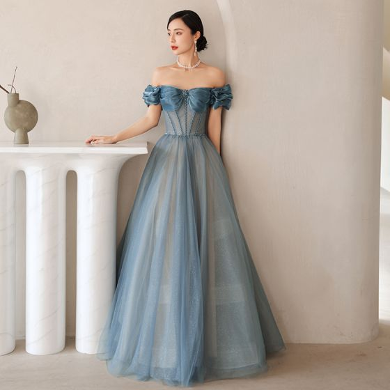 Sexy Bleu Robe De Bal 2021 Princesse Volants De l'épaule Faux Diamant Manches Courtes Dos Nu Longue Robe De Ceremonie