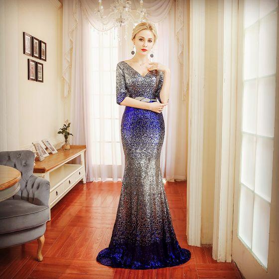 Sparkly Evening Dresses  2018 Trumpet / Mermaid Metal Sash Sequins V-Neck Backless 1/2 Sleeves Sweep Train Formal Dresses