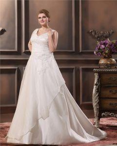 A-Line V Neck Sleeveless Sweep Plus Size Wedding Dress