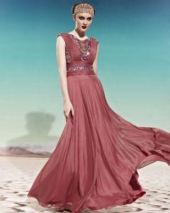 Scoop Neck Sequin Beading Belt Sleeveless Backless Empire Chiffon Woman Evening Dress