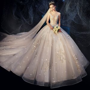 Luxury / Gorgeous Ivory Wedding Dresses 2019 A-Line / Princess See-through Deep V-Neck Sleeveless Backless Appliques Lace Rhinestone Beading Pearl Glitter Tulle Cathedral Train Ruffle