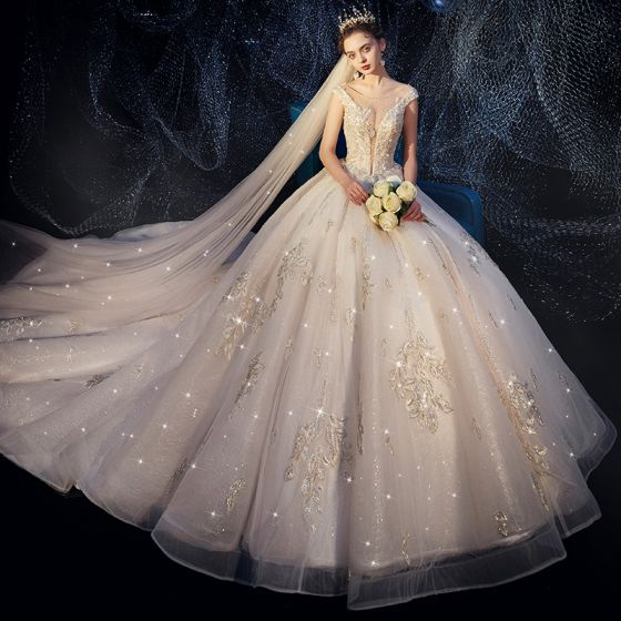 Luxury Gorgeous Ivory Wedding Dresses 2019 A Line Princess See Through Deep V Neck Sleeveless Backless Appliques Lace Rhinestone Beading Pearl