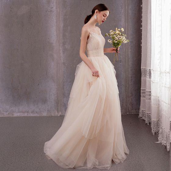 Modest / Simple Light Champagne Beach Wedding Dresses 2020 A-Line / Princess Ruffle Strapless Sleeveless Backless Floor-Length / Long