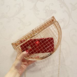 Amazing / Unique Gold Pierced See-through Metal Clutch Bags 2018