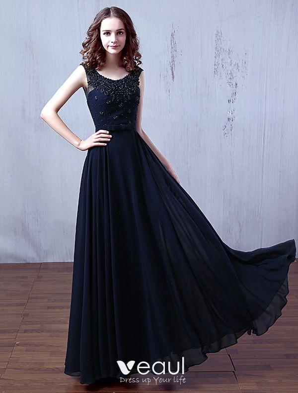 c6c1f15f359 Vestidos De Noche Glamorosa 2016 Vestido Largo De La Gasa Azul Marino  Oscuro Abalorios Escote Redondo ...