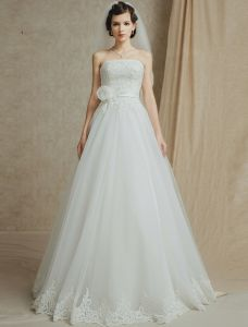 2015 A-line Strapless Appliques Lace Flower Sash Wedding Dresses