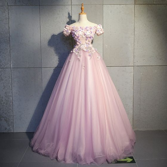 Modern / Fashion Blushing Pink Prom Dresses 2019 Ball Gown Off-The-Shoulder Short Sleeve Appliques Flower Pearl Rhinestone Floor-Length / Long Ruffle Backless Formal Dresses