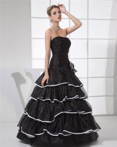 Ball Gown Strapless Pleated Layered Flower Floor Length Organza Silk Charmeuse Woman Quinceanera Prom Dress