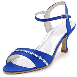 Elegante Vrouwen Feestschoenen Blauw Satijnen Trouwschoenen Bruidsschoenen Diamanten Ketting Decoratie