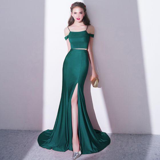 Mode Charmant 2 Stück Dunkelgrün Hof-Schleppe Abendkleider 2018 Mermaid Spaghettiträger Abend Festliche Kleider