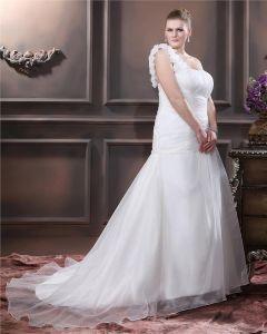Taft Hand Bloem Ruche Een Schouder Grote Maten Trouwjurken Bruidsjurken