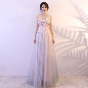Hermoso Rosa Vestidos de gala 2018 A-Line / Princess Apliques Rebordear Crystal Sweetheart Sin Espalda Sin Mangas Largos Vestidos Formales
