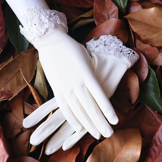 Chic / Beautiful Ivory Bridal Gloves 2020 Lace Rhinestone Tulle Wedding Prom Accessories