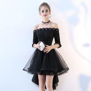 Hermoso Negro Vestidos de cóctel 2017 A-Line / Princess De Encaje Bowknot Lentejuelas Fuera Del Hombro Sin Espalda 1/2 Ærmer Asimétrico Vestidos Formales