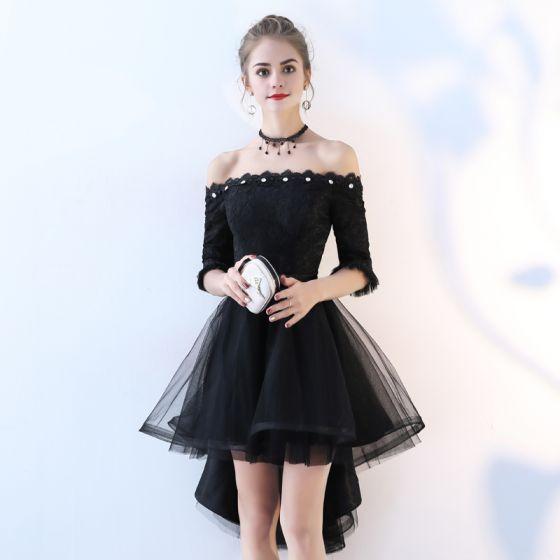 f033e7ae6 Hermoso Negro Vestidos de cóctel 2017 A-Line   Princess De Encaje Bowknot  Lentejuelas Fuera Del Hombro ...