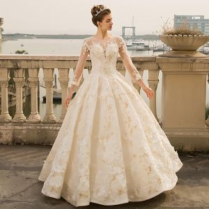 Luxury / Gorgeous Ivory Wedding Dresses 2018 Ball Gown Beading Appliques Lace Pearl Sequins Scoop Neck Backless 3/4 Sleeve Floor-Length / Long Wedding