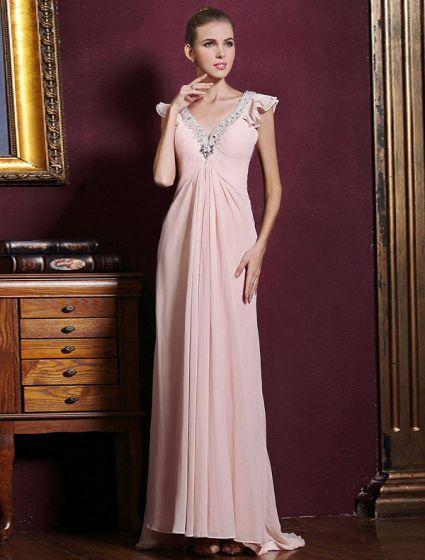 Elegant Dyp V-hals Krusning Rosa Chiffon Maxi Selskapskjoler Med Paljetter