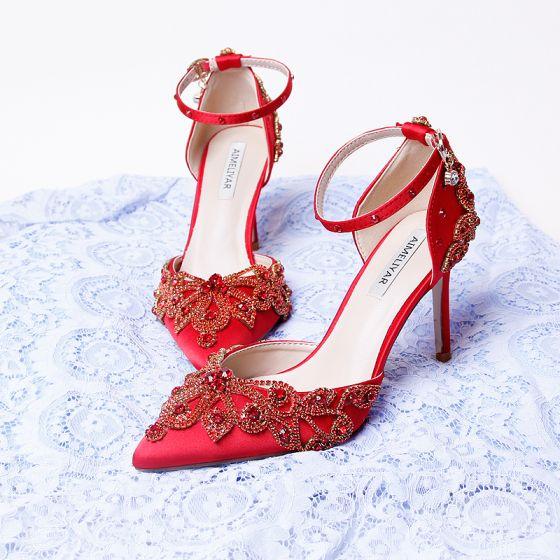 Estilo Chino Rojo Rhinestone Zapatos de novia 2020 Satén Correa Del Tobillo 9 cm Stilettos / Tacones De Aguja Punta Estrecha Boda De Tacón